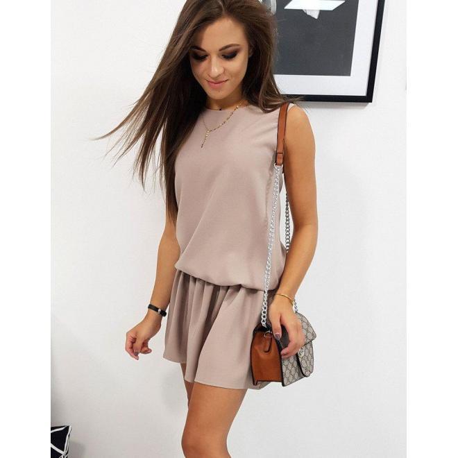 Svetlohnedé letné šaty s volánom pre dámy