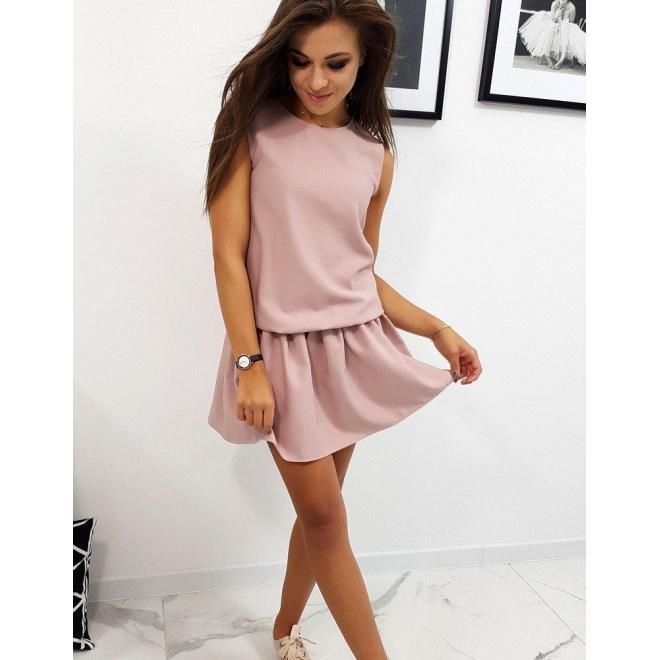 Dámske letné šaty s volánom v ružovej farbe