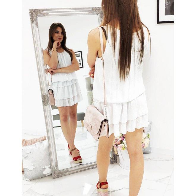 Biele letné šaty s volánmi pre dámy