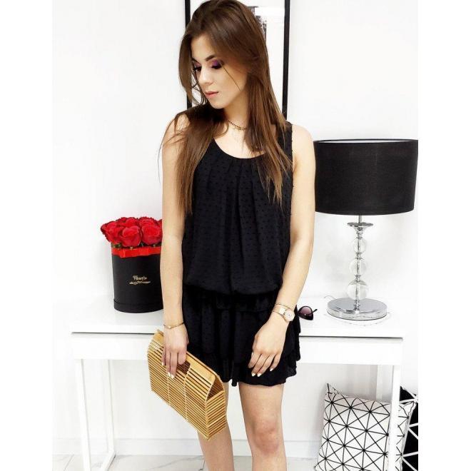Dámske letné šaty s volánmi v čiernej farbe