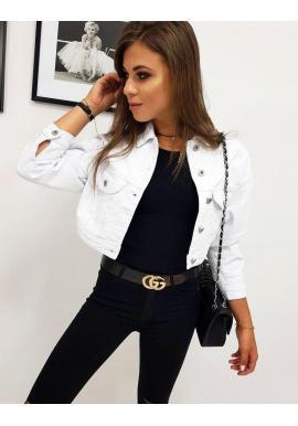 Riflová dámska bunda bielej farby