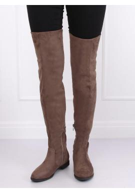 Béžové semišové čižmy nad kolená pre dámy
