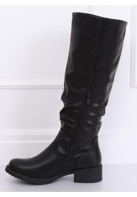 Čierne klasické čižmy s nariaseným zvrškom pre dámy