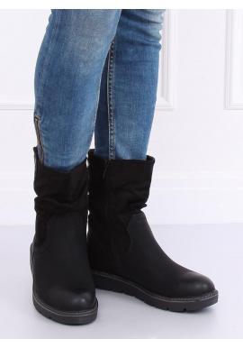 Čierne módne čižmy s hrubou podrážkou pre dámy