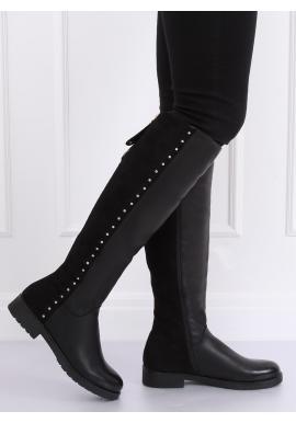 Čierne oteplené čižmy s vybíjaním pre dámy