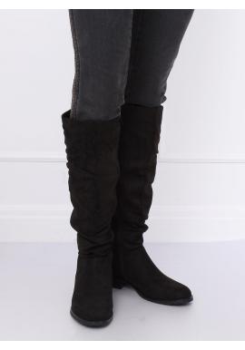 Semišové dámske čižmy čiernej farby s nariaseným zvrškom