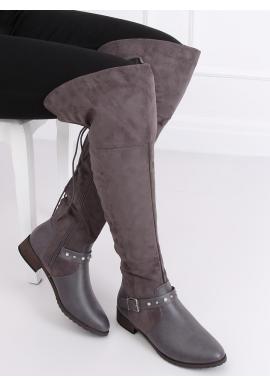 Sivé semišové čižmy nad kolená s perlami a vybíjaním pre dámy