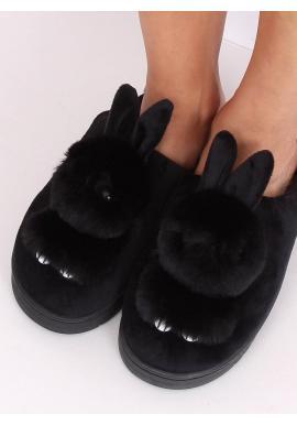Teplé dámske papuče čiernej farby s králikom