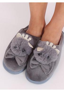 Dámske teplé papuče s korunkou a mašľou v sivej farbe