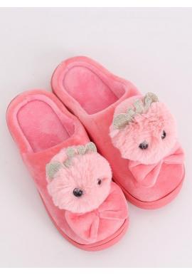 Svetloružové teplé papuče s korunkou a mašľou pre dámy