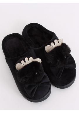 Teplé dámske papuče čiernej farby s korunkou a mašľou