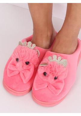 Dámske teplé papuče s korunkou a mašľou v tmavoružovej farbe