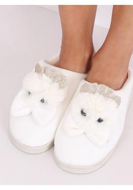 Béžové teplé papuče s korunkou a mašľou pre dámy