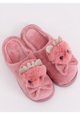 Teplé dámske papuče staroružovej farby s korunkou a mašľou