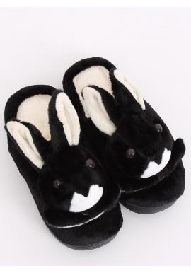Dámske teplé papuče s králikom v čiernej farbe