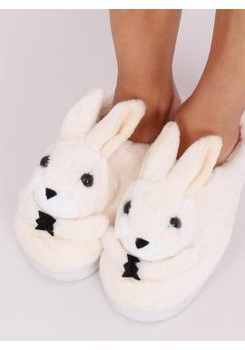 Béžové teplé papuče s králikom pre dámy