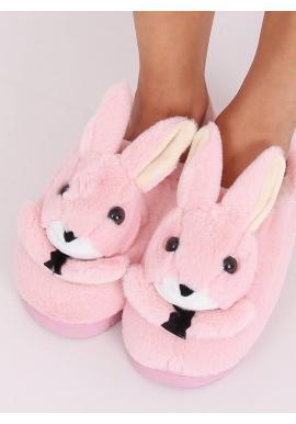 Teplé dámske papuče svetloružovej farby s králikom