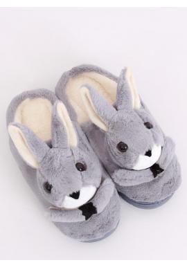 Dámske teplé papuče s králikom v sivej farbe