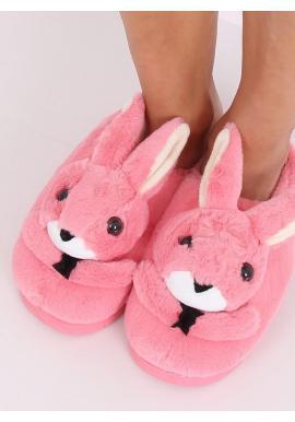 Tmavoružové teplé papuče s králikom pre dámy