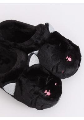 Teplé dámske papuče čiernej farby s ušami