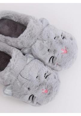 Dámske teplé papuče s ušami v sivej farbe