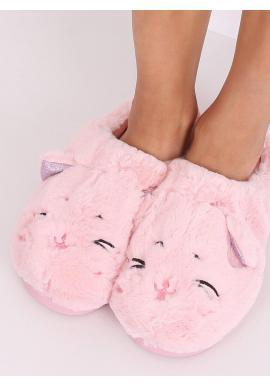 Ružové teplé papuče s ušami pre dámy