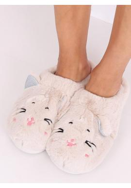 Teplé dámske papuče béžovej farby s ušami
