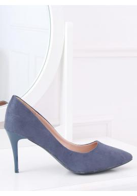 Semišové dámske lodičky modrej farby na štíhlom podpätku