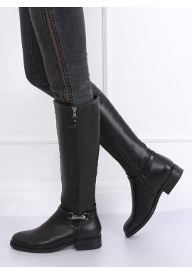 Dámske módne čižmy s ozdobným zipsom v čiernej farbe
