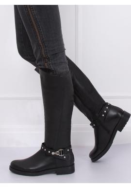 Čierne oteplené čižmy s pásikom s vybíjaním pre dámy