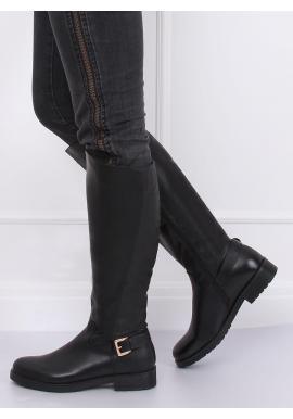 Oteplené dámske čižmy čiernej farby so zlatou prackou