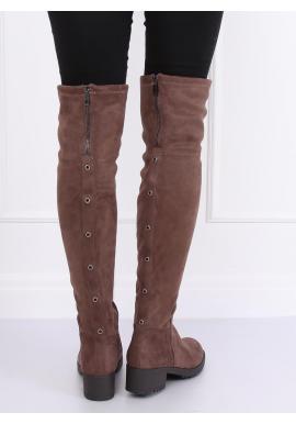 Dámske semišové čižmy nad kolená v béžovej farbe