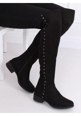Čierne semišové čižmy nad kolená s kamienkami pre dámy