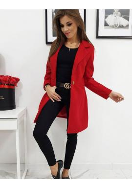 Dámsky módny kabát s jedným gombíkom v červenej farbe