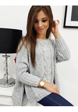 Dámsky oversize sveter s 3/4 rukávom v svetlosivej farbe