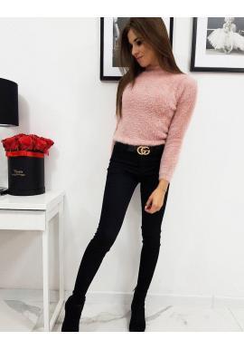 Ružový chlpatý sveter s polrolákom pre dámy