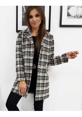 Kockovaný dámsky kabát čiernej farby s dvomi gombíkmi