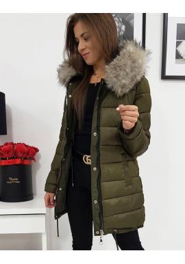 Olivová obojstranná bunda na zimu pre dámy