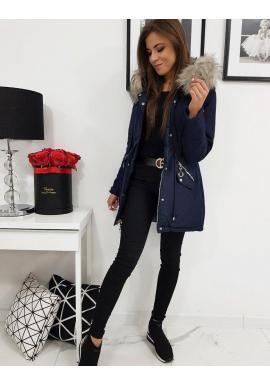 Obojstranná dámska bunda tmavomodrej farby na zimu