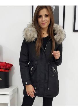 Dámska obojstranná bunda na zimu v čiernej farbe