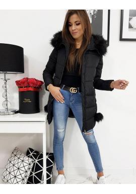 Dámska prešívaná bunda na zimu v čiernej farbe