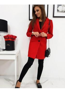 Jednoradový dámsky kabát červenej farby