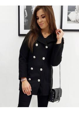 Dámsky dvojradový kabát v čiernej farbe