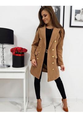 Elegantný dámsky dvojradový kabát hnedej farby