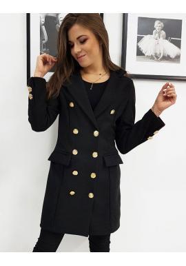 Čierny elegantný dvojradový kabát pre dámy