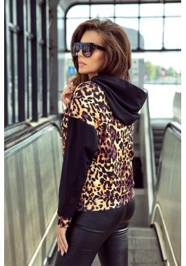Štýlová dámska mikina čiernej farby s leopardím motívom