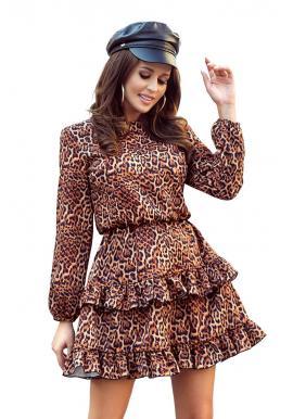 Hnedé leopardie šaty s volánmi pre dámy
