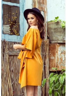 Módne dámske šaty žltej farby s opaskom
