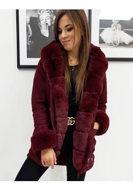 Zimné dámske Parky bordovej farby s kapucňou