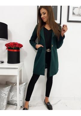 Módny dámsky kabát zelenej farby s jedným gombíkom